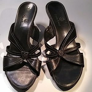 Cole Haan black heeled sandals white stitching